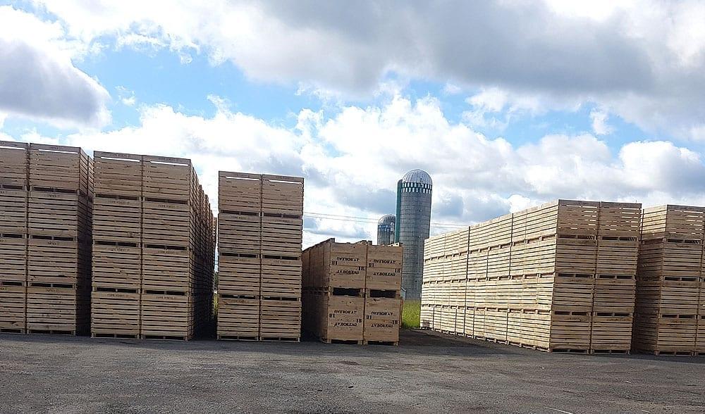 GCharland Boite transport fruit legumes poutre bois escaliers rive-sud bois allumage monteregie quebec